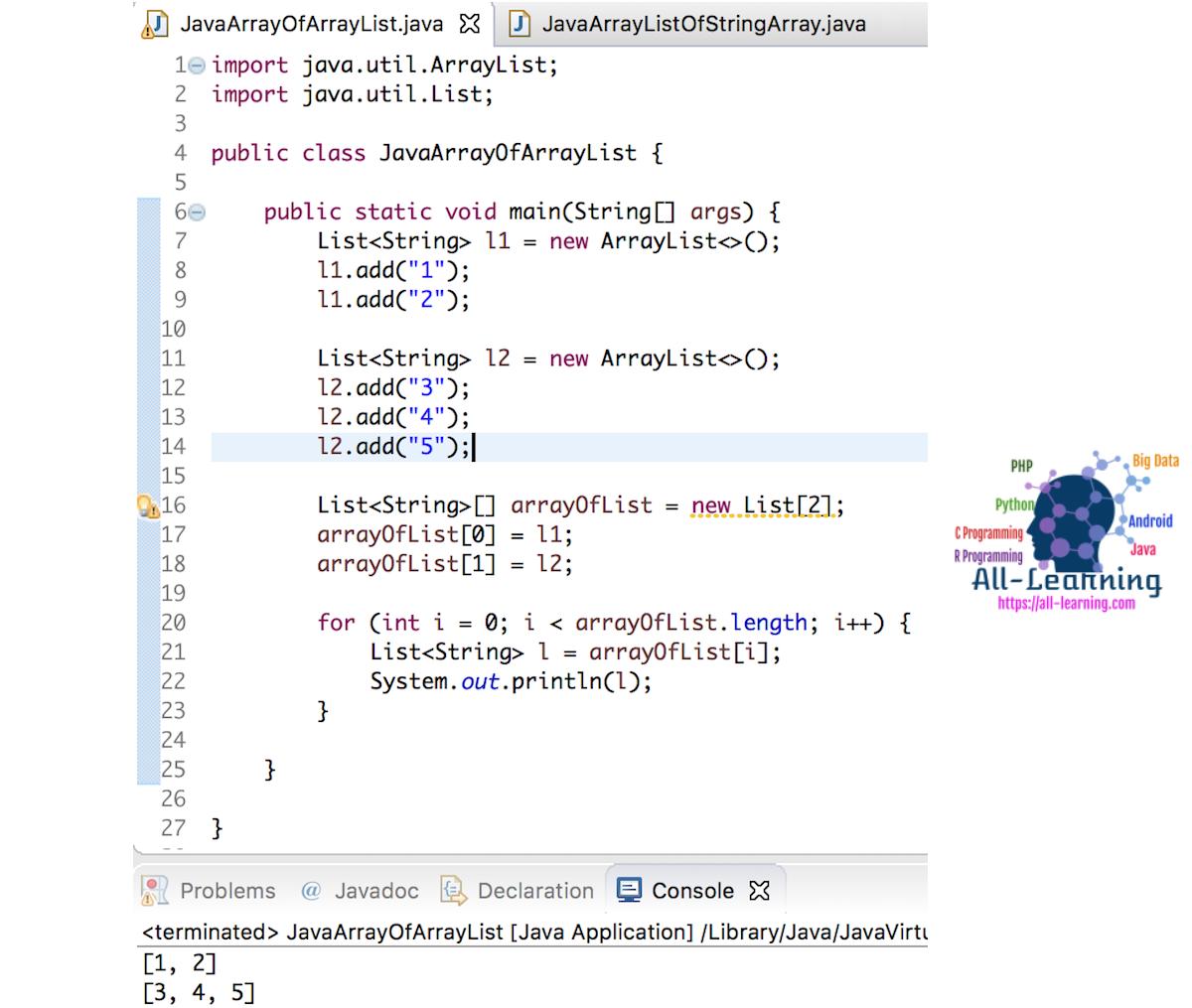java-array-of-arraylist