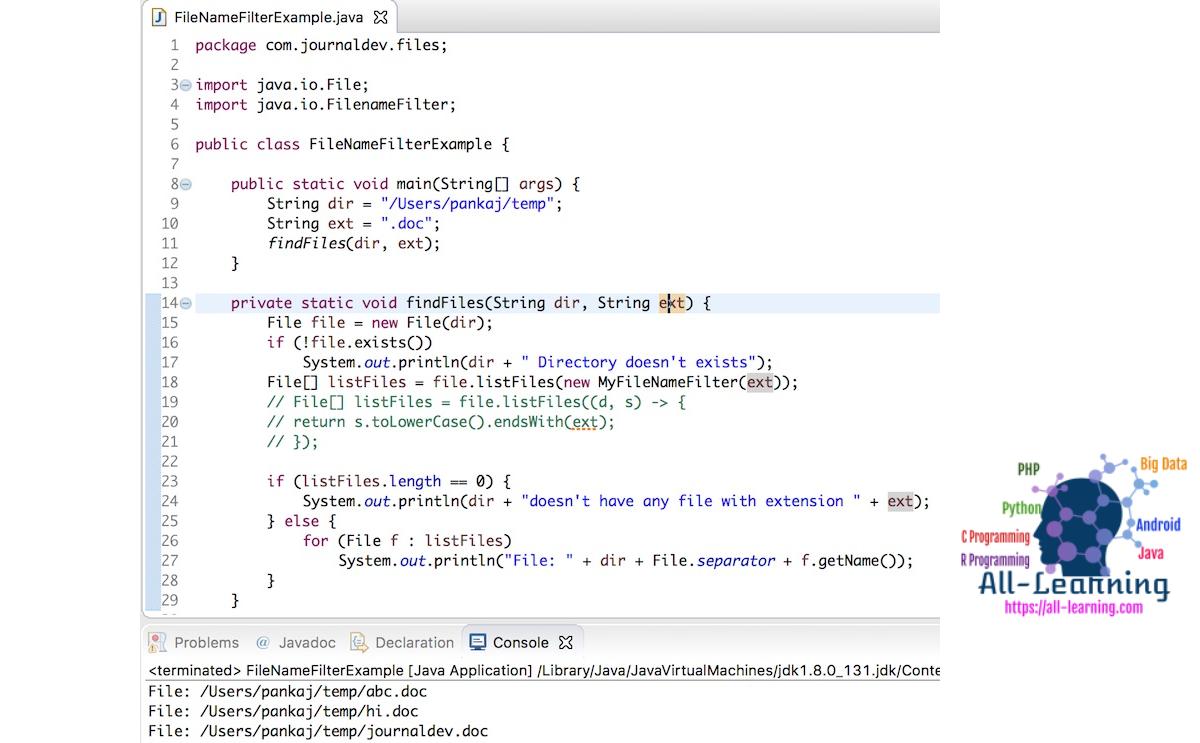 Java FilenameFilter