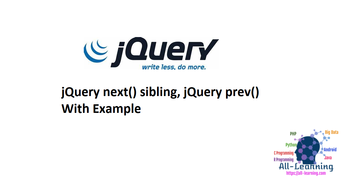 jQuery next() sibling, jQuery prev() With Example