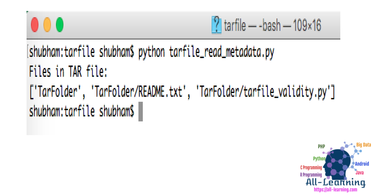 python tarfile read metadata
