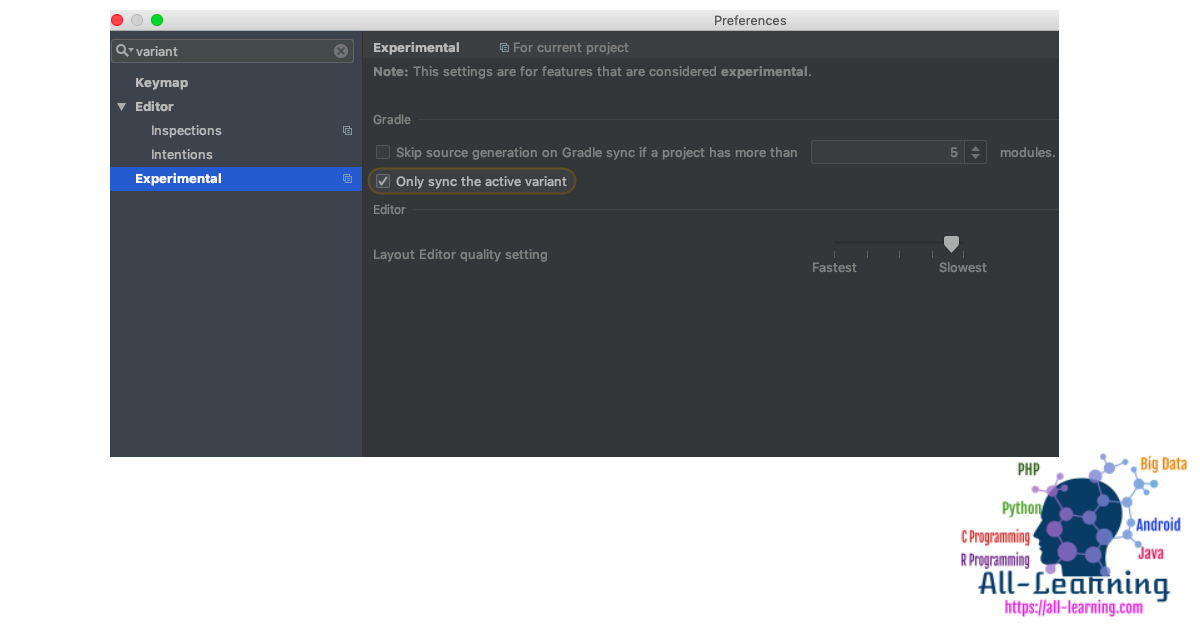 android-studio-single-build-variant-sync