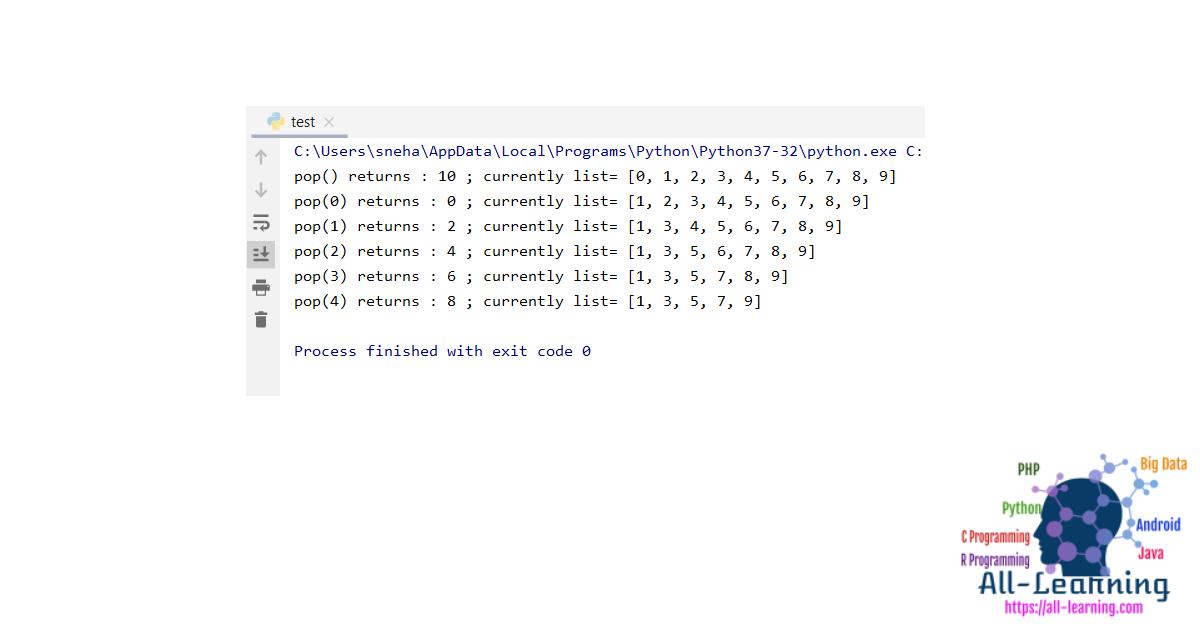 List pop() In Python