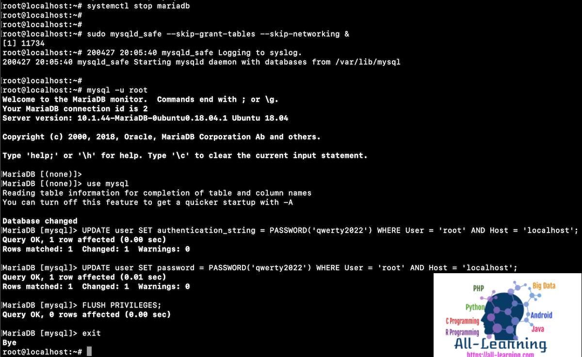 mysql-reset-root-password